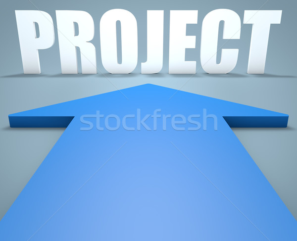 Projekt 3d render kék nyíl mutat munka Stock fotó © Mazirama
