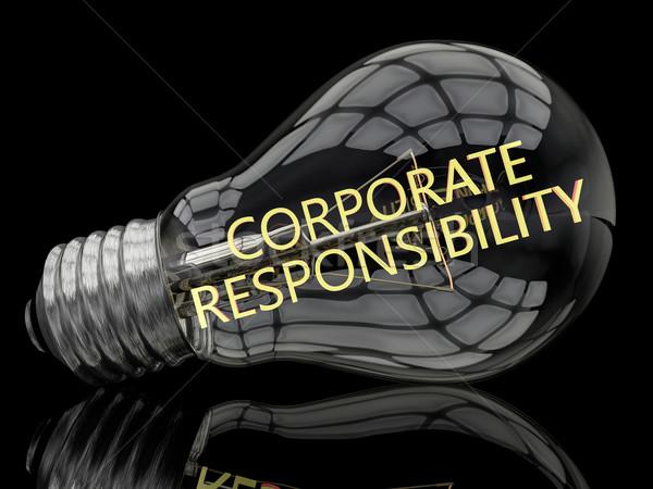 Corporate responsabilità lampadina nero testo rendering 3d Foto d'archivio © Mazirama