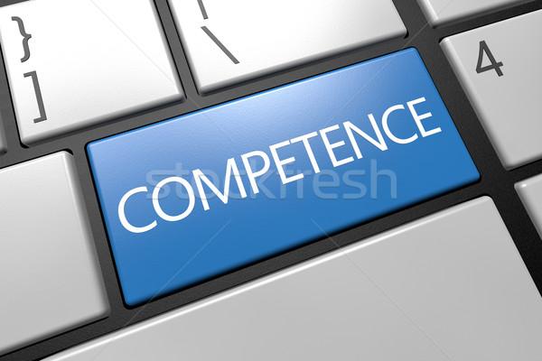 Stock fotó: Kompetencia · billentyűzet · 3d · render · illusztráció · szó · kék