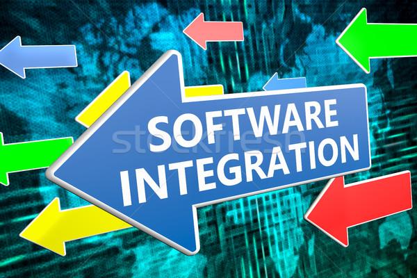 Software integração texto azul seta voador Foto stock © Mazirama