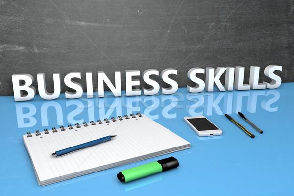 бизнеса навыки текста доске ноутбук ручках Сток-фото © Mazirama
