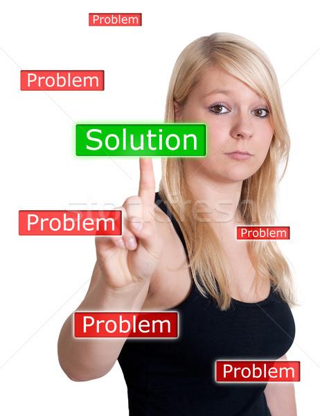 Stok fotoğraf: çözüm · düğme · kadın · beyaz · iş