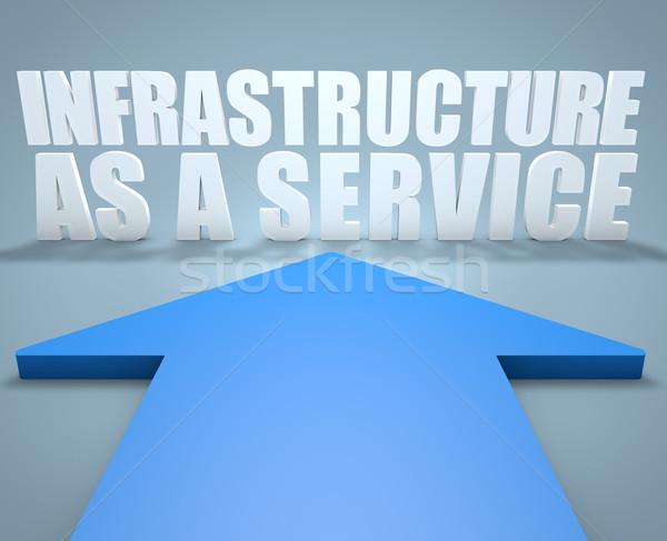 Infra-estrutura serviço 3d render azul seta indicação Foto stock © Mazirama