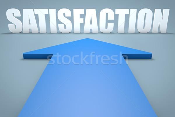満足 3dのレンダリング 青 矢印 ポインティング 通信 ストックフォト © Mazirama