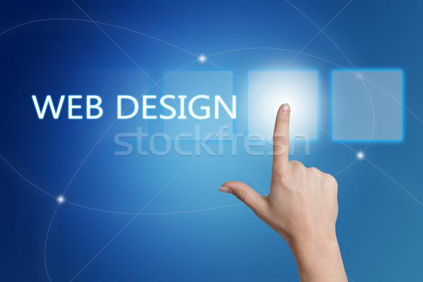 Webデザイン 手 ボタン インターフェース 青 ストックフォト © Mazirama