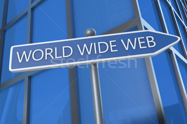 World wide web illustratie straat teken kantoorgebouw internet technologie Stockfoto © Mazirama
