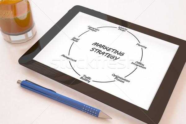 Strategia marketingowa tekst komórkowych biurko 3d Zdjęcia stock © Mazirama