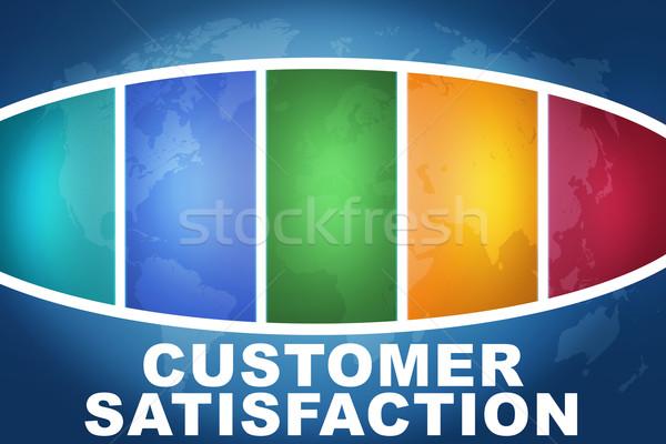 Satisfação do cliente texto ilustração azul colorido mapa do mundo Foto stock © Mazirama