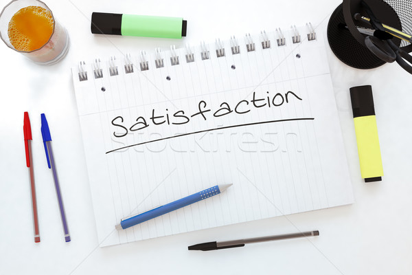 Satisfaction texte portable bureau rendu 3d Photo stock © Mazirama