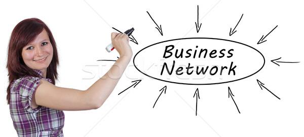 Бизнес-сеть молодые деловая женщина рисунок информации Сток-фото © Mazirama