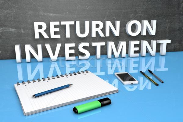 Voltar investimento texto quadro-negro caderno canetas Foto stock © Mazirama