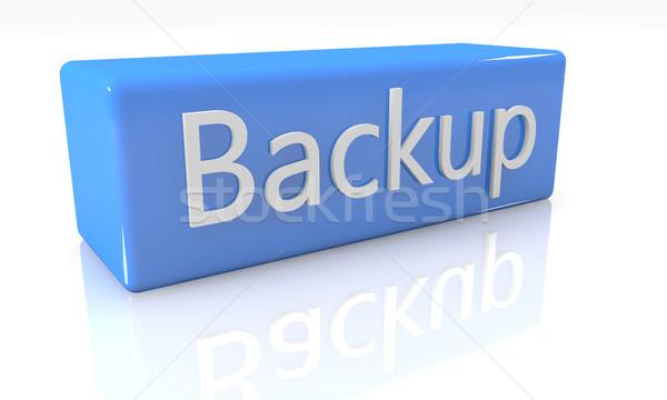 Biztonsági mentés 3d render kék doboz szöveg fehér Stock fotó © Mazirama