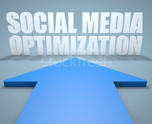 Medios de comunicación social optimización 3d azul flecha senalando Foto stock © Mazirama