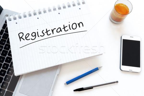 Registratie tekst notebook bureau 3d render Stockfoto © Mazirama