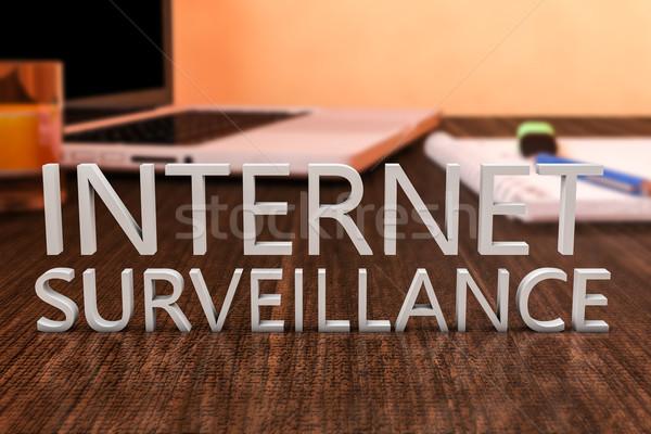 Internet megfigyelés levelek fából készült asztal laptop számítógép Stock fotó © Mazirama