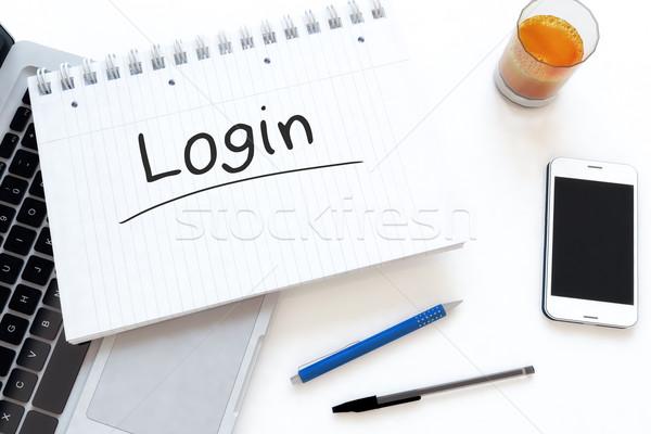 Login manoscritto testo notebook desk rendering 3d Foto d'archivio © Mazirama