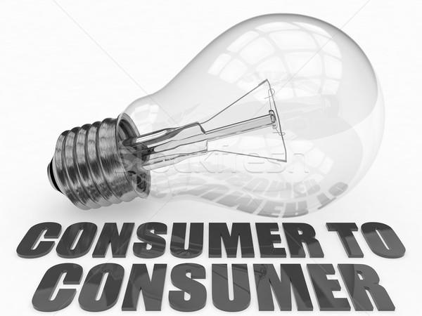 Tüketici ampul beyaz metin 3d render örnek Stok fotoğraf © Mazirama