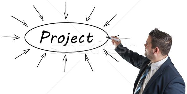 Projekt fiatal üzletember rajz információ tábla Stock fotó © Mazirama