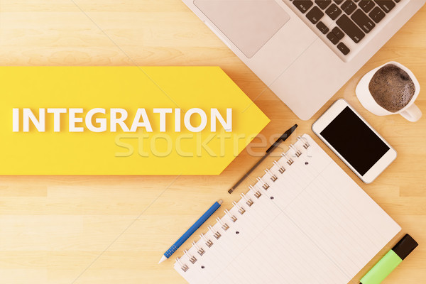 интеграция линейный текста стрелка ноутбук смартфон Сток-фото © Mazirama