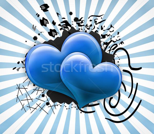 Sevgililer günü kart iki büyük mavi kalpler Stok fotoğraf © Mazirama