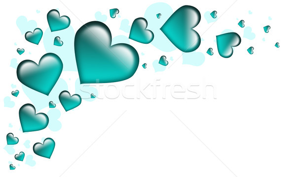 Valentin nap kártya szívek összes türkiz textúra Stock fotó © Mazirama