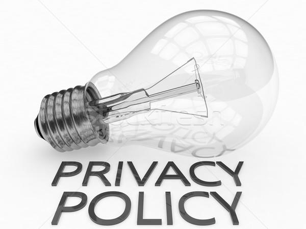 Privatsphäre Politik Glühbirne weiß Text 3d render Stock foto © Mazirama