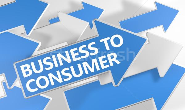 Stock fotó: üzlet · fogyasztó · 3d · render · kék · fehér · nyilak