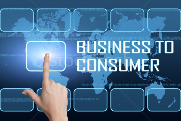 Business consument interface wereldkaart Blauw web Stockfoto © Mazirama