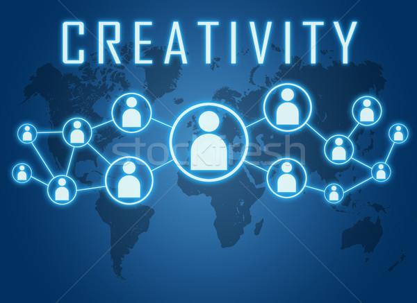 креативность текста синий Мир карта социальной иконки Сток-фото © Mazirama