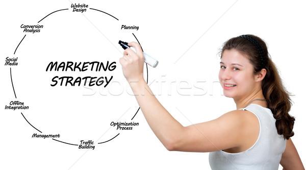 Estratégia de marketing morena empresária mulher Foto stock © Mazirama