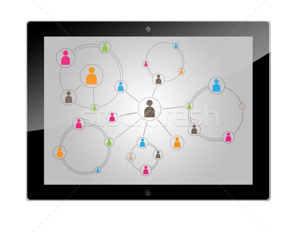 Tablet social media schema verbinding technologie Stockfoto © Mazirama