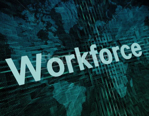 Stock fotó: Munkaerő · állás · munka · szó · digitális · világtérkép