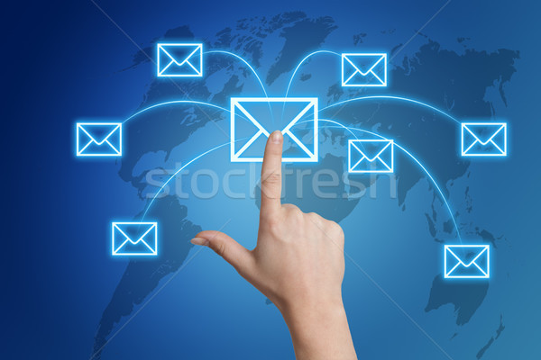 Communicatie hand brief icon wereldkaart Stockfoto © Mazirama