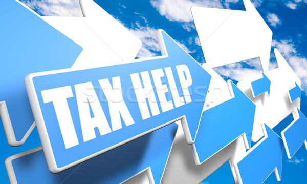 Vergi yardım 3d render mavi beyaz oklar Stok fotoğraf © Mazirama