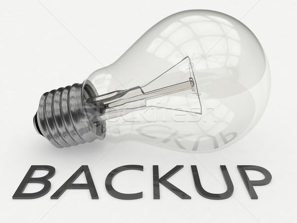 バックアップ 電球 白 文字 3dのレンダリング 実例 ストックフォト © Mazirama