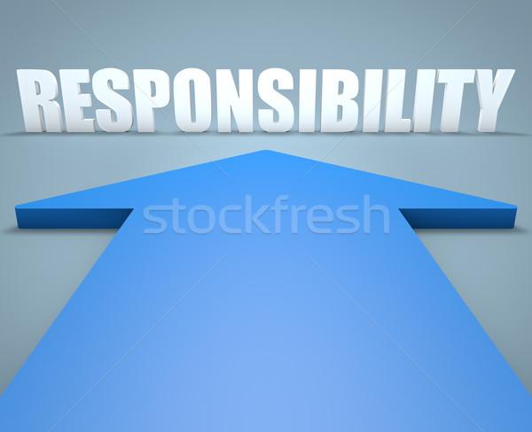 ответственность 3d визуализации синий стрелка указывая ухода Сток-фото © Mazirama