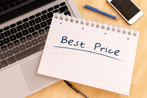 Mejor precio texto cuaderno escritorio 3d Foto stock © Mazirama