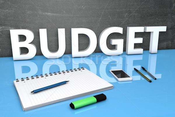 Orçamento texto quadro-negro caderno canetas telefone móvel Foto stock © Mazirama
