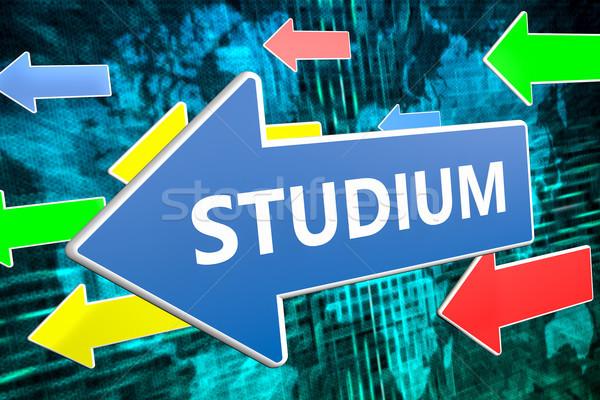 Tekst woord studie Blauw pijl vliegen Stockfoto © Mazirama