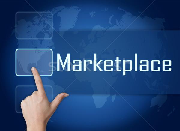 Piactér interfész világtérkép kék pénz textúra Stock fotó © Mazirama