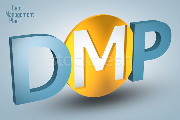 Foto stock: Dívida · gestão · plano · acrônimo · 3d · render · ilustração