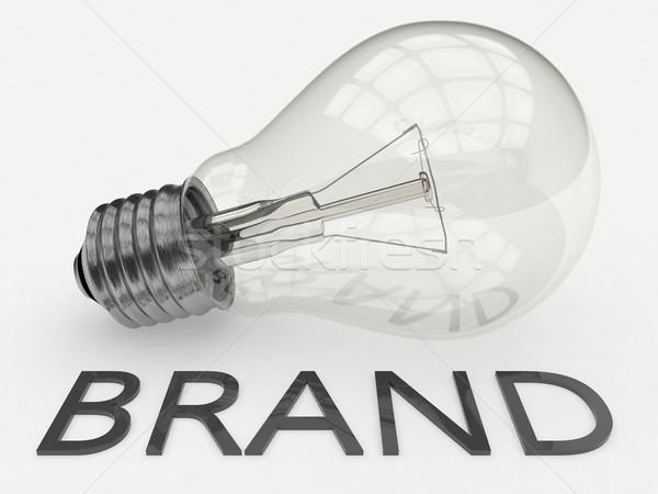 Marca lampadina bianco testo rendering 3d illustrazione Foto d'archivio © Mazirama