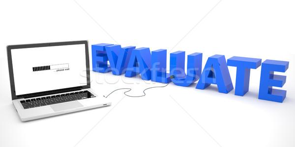 ラップトップコンピュータ 言葉 白 3dのレンダリング 実例 教育 ストックフォト © Mazirama