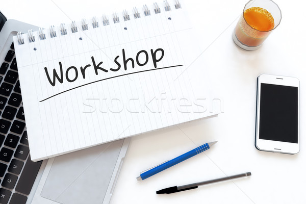 Workshop manoscritto testo notebook desk rendering 3d Foto d'archivio © Mazirama