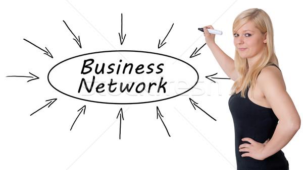 Zdjęcia stock: Business · network · młodych · kobieta · interesu · rysunek · informacji
