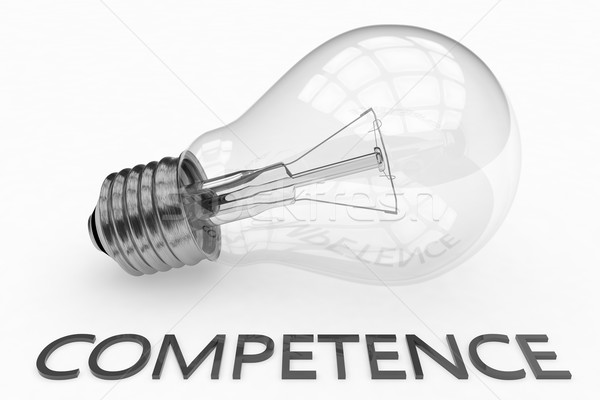 Competência lâmpada branco texto 3d render ilustração Foto stock © Mazirama