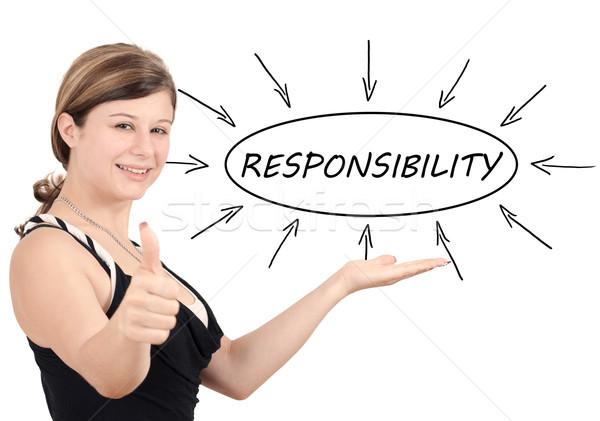 Verantwortung jungen Geschäftsfrau Prozess Informationen isoliert Stock foto © Mazirama