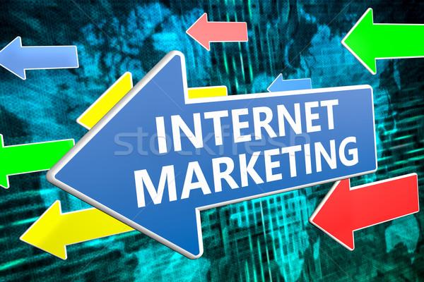 Internet marketing szöveg kék nyíl repülés zöld Stock fotó © Mazirama