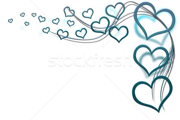 Stok fotoğraf: Sevgililer · günü · kart · tasarımlar · turkuaz · kalpler