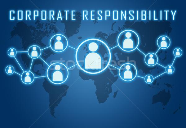 Corporate responsabilità blu mappa del mondo sociale icone Foto d'archivio © Mazirama